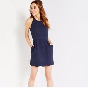 Lauren James Landry Navy Scallop Hem Dress Sz S